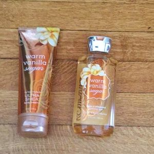 Bath and Body body wash and lotion.